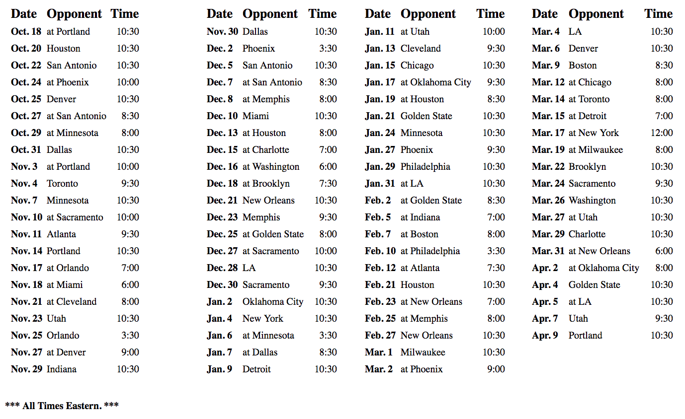 Los Angeles Lakers Schedule for 2018-19 Season