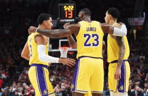 Josh Hart, LeBron James, and Kyle Kuzma
