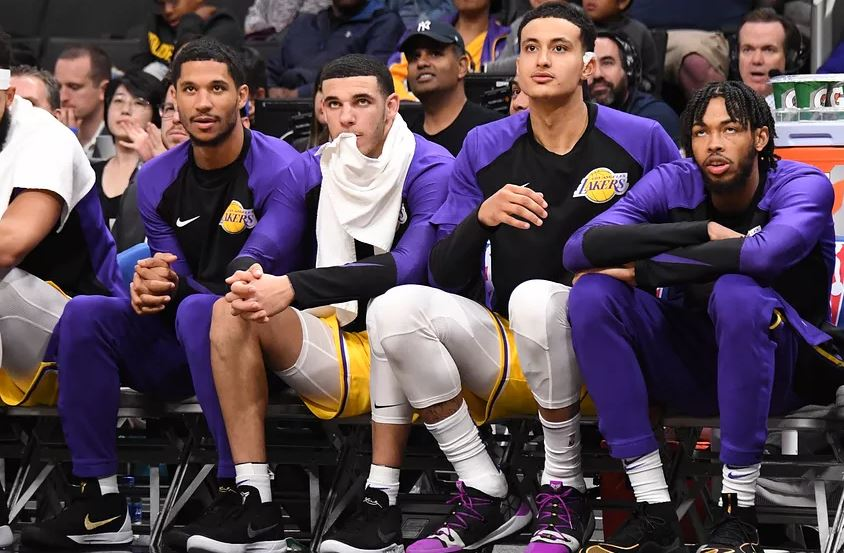 Josh Hart, Lonzo Ball, Kyle Kuzma, and Brandon Ingram