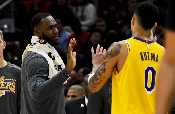 LeBron James and Kyle Kuzma Lakers