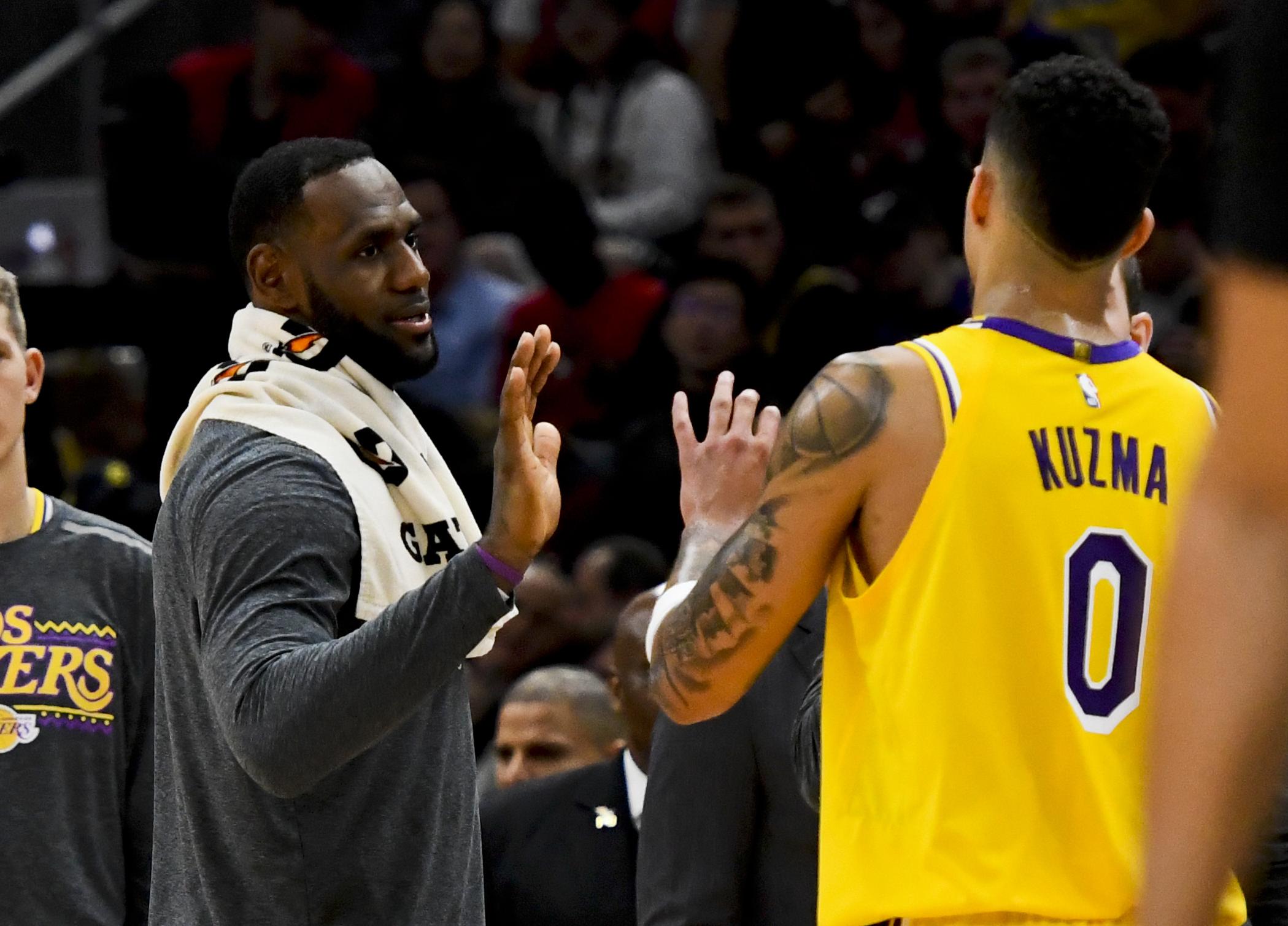 LeBron James and Kyle Kuzma Lakers