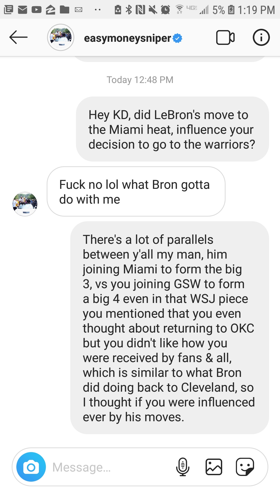 Kevin Durant Instagram Direct Message