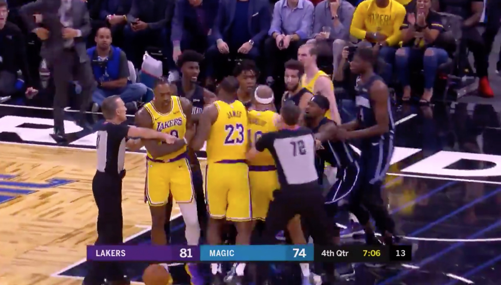 Lakers and Magic Scuffle