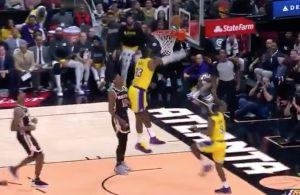 LeBron James Blocks Rajon Rondo