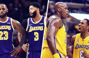 LeBron James, Anthony Davis, Shaquille O'Neal and Kobe Bryant