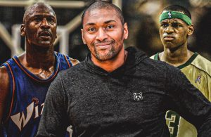 Michael Jordan, Metta World Peace and LeBron James