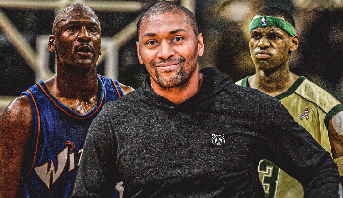 Michael Jordan, Metta World Peace and LeBron James