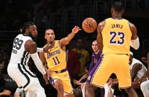 Avery Bradley and LeBron James Lakers