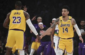 LeBron James and Danny Green Lakers