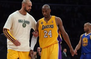 Robert Sacre and Kobe Bryant
