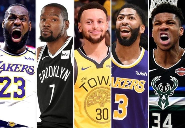LeBron James, Kevin Durant, Stephen Curry, Anthony Davis and Giannis Antetokounmpo