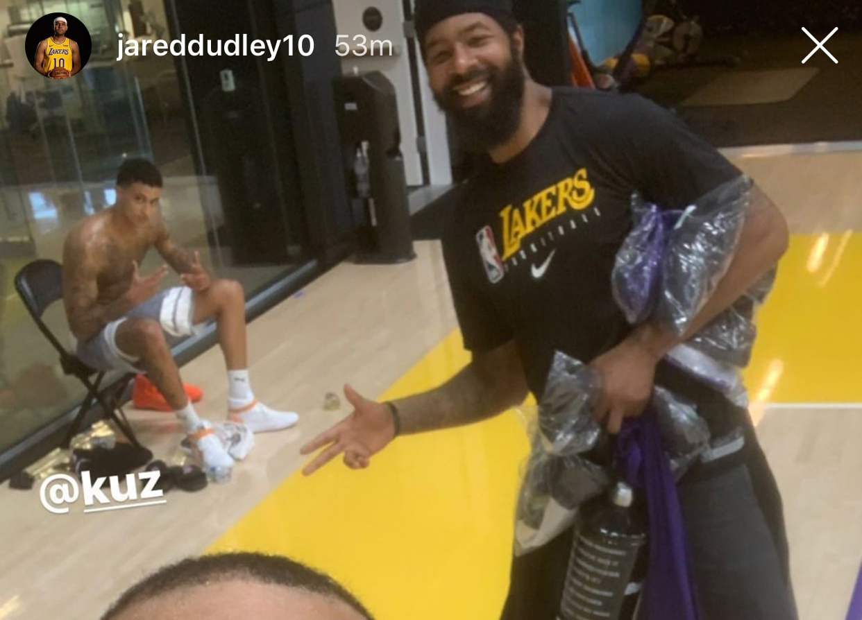 Kyle Kuzma, Markieff Morris and Jared Dudley