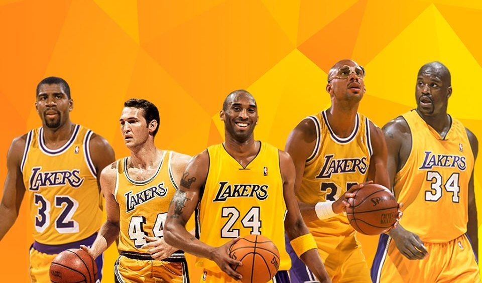 Magic Johnson, Jerry West, Kobe Bryant, Kareem Abdul-Jabbar and Shaquille ONeal