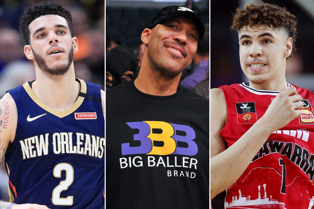 Lonzo Ball, LaVar Ball and LaMelo Ball