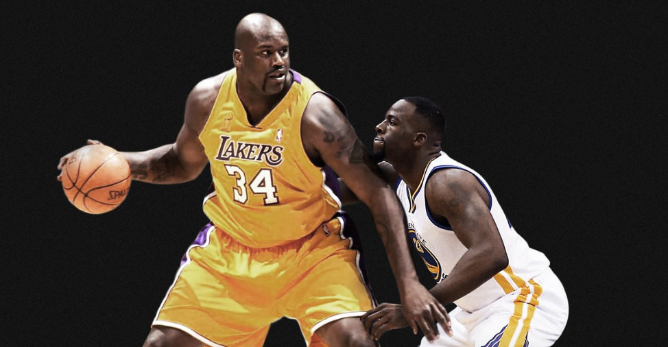 Shaquille O'Neal and Draymond Green