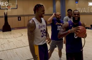 Dwight Howard, Jared Dudley and LeBron James Lakers Bubble