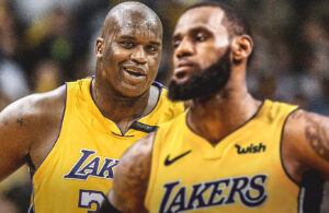 Shaquille O'Neal and LeBron James Lakers