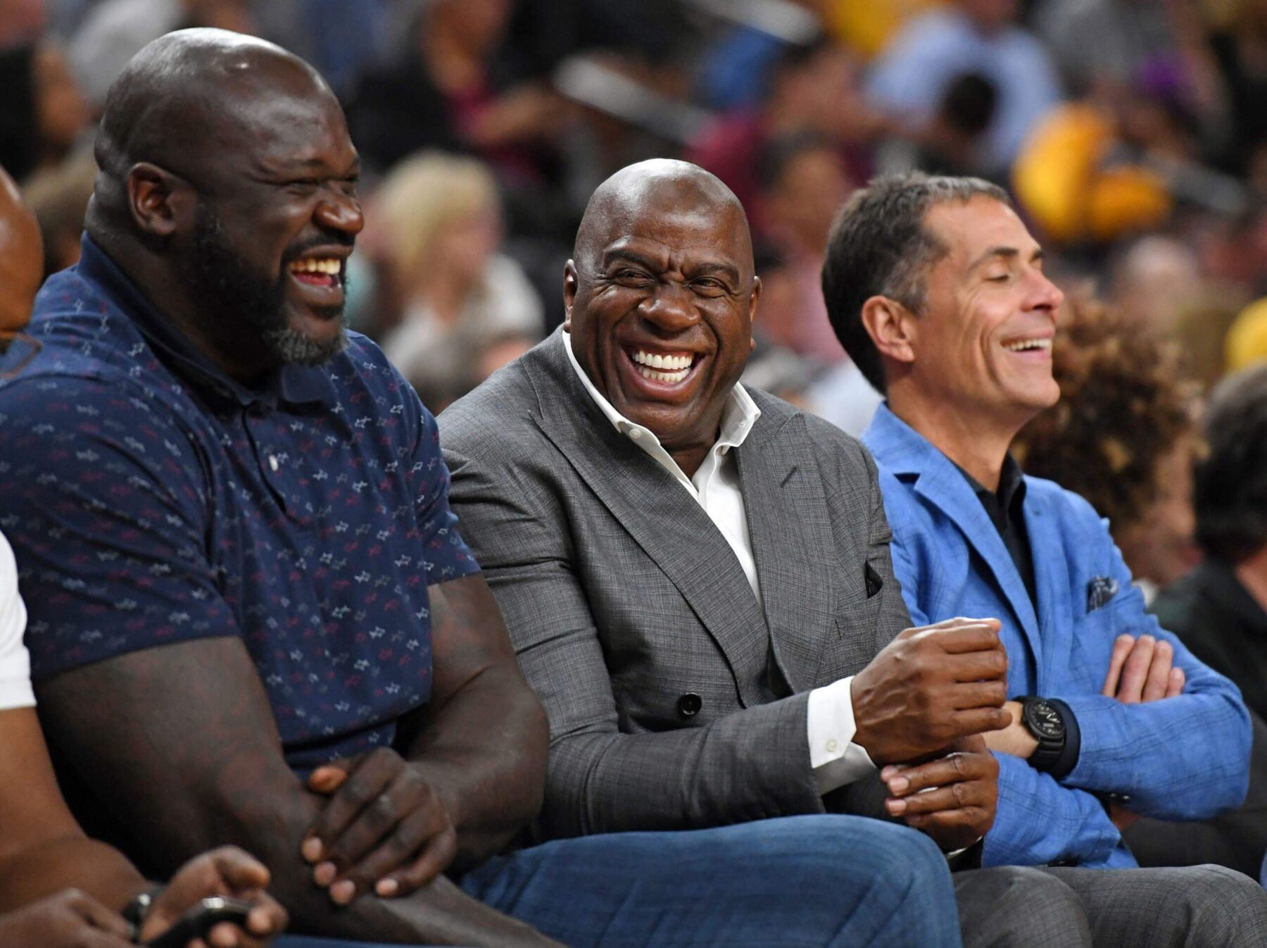 Shaquille O'Neal, Magic Johnson and Rob Pelinka