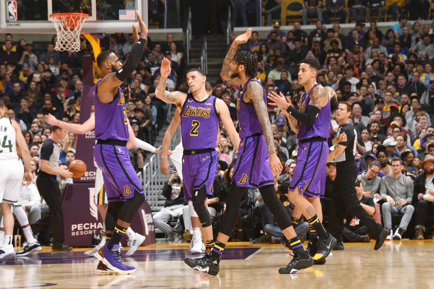 LeBron James, Lonzo Ball, Brandon Ingram and Kyle Kuzma