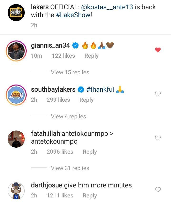 Giannis Antetokounmpo reacts on Twitter