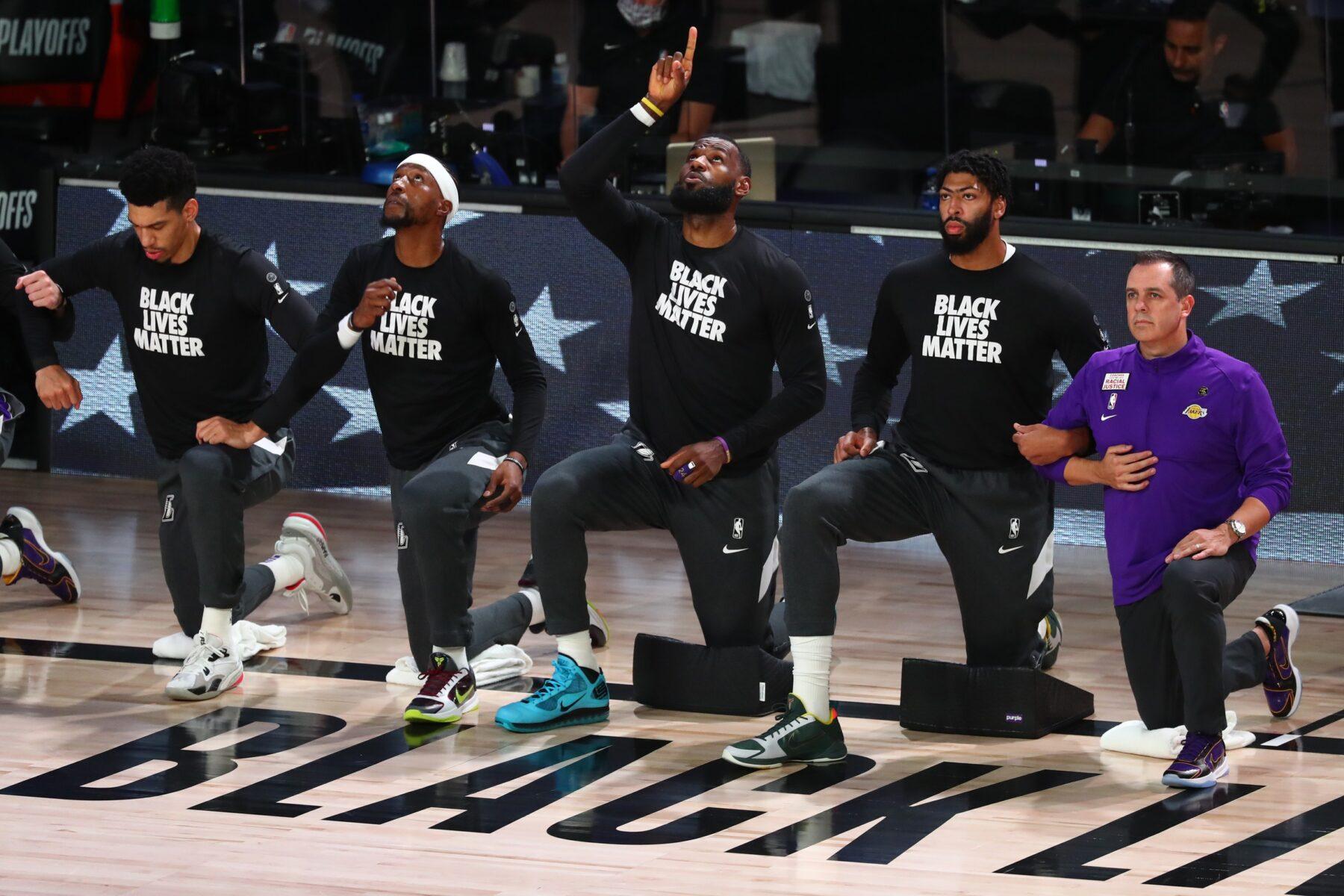 LeBron James, Anthony Davis and Frank Vogel