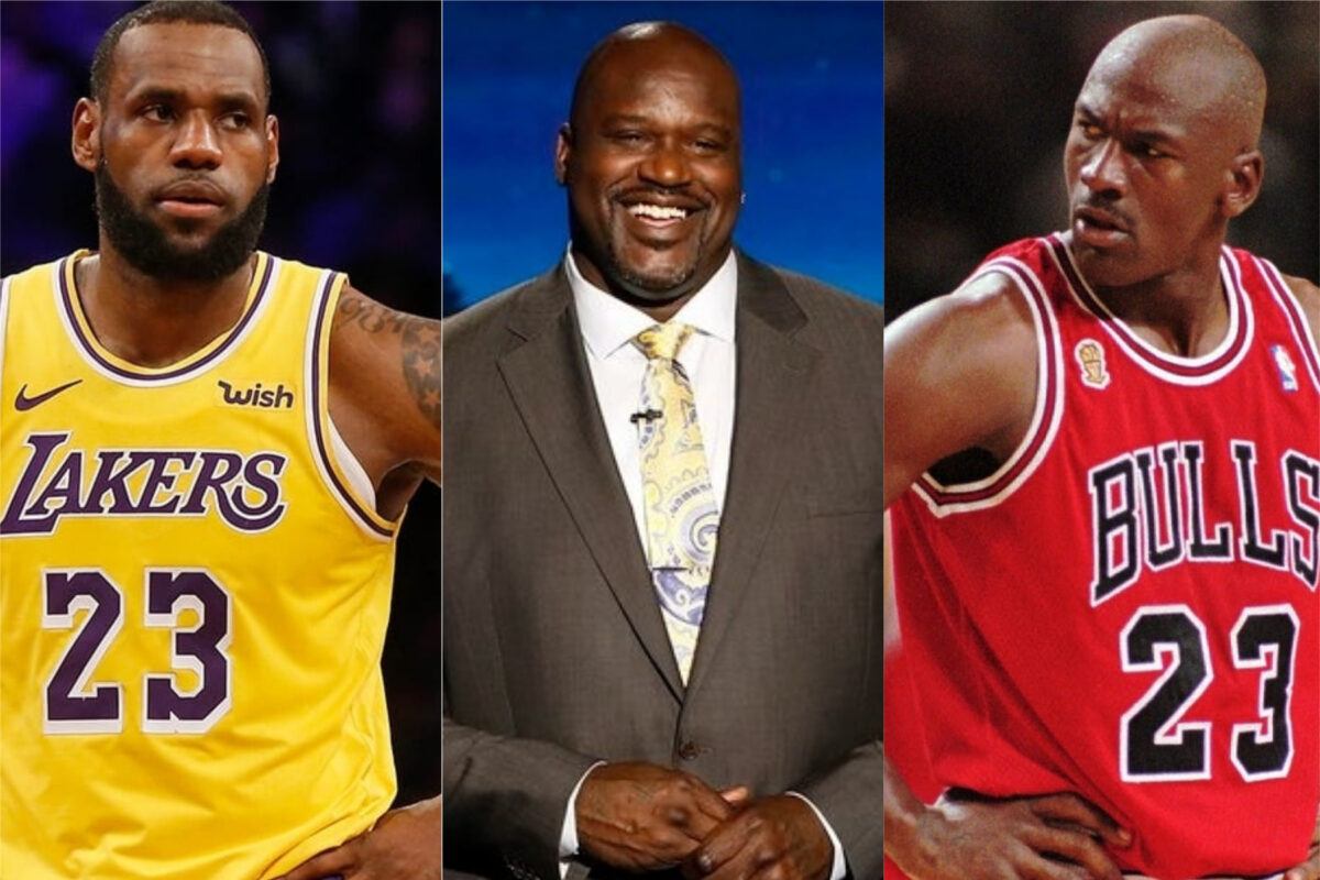 LeBron James, Shaquille O'Neal and Michael Jordan
