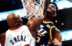 Donovan Mitchell dunking on Shaq