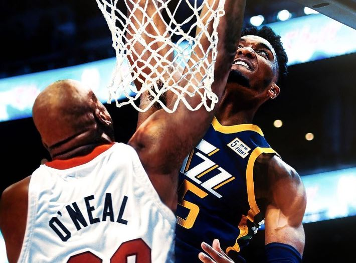Donovan Mitchell dunking on Shaq