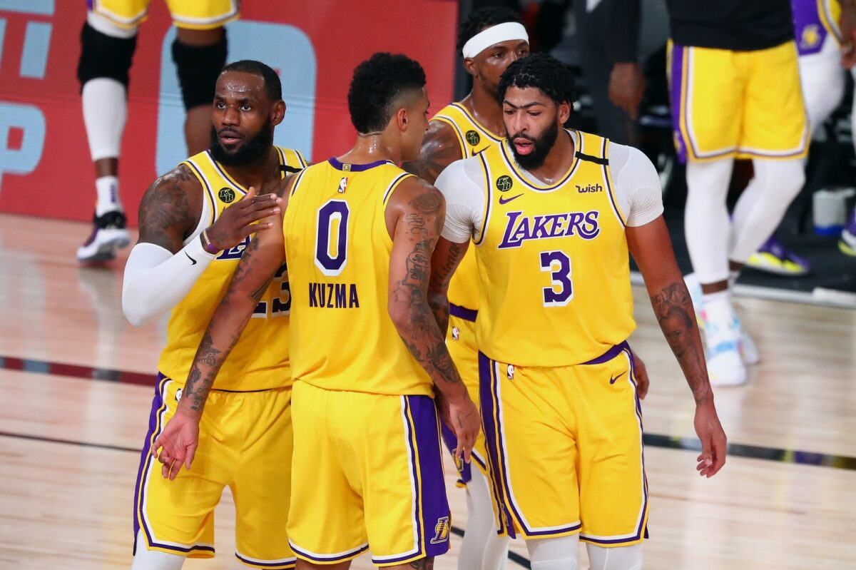 LeBron James, Anthony Davis, Kyle Kuzma and Kentavious Caldwell-Pope