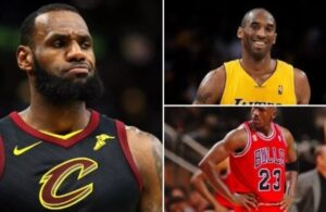 LeBron James, Kobe Bryant and Michael Jordan