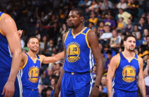 Stephen Curry, Kevin Durant and Klay Thompson