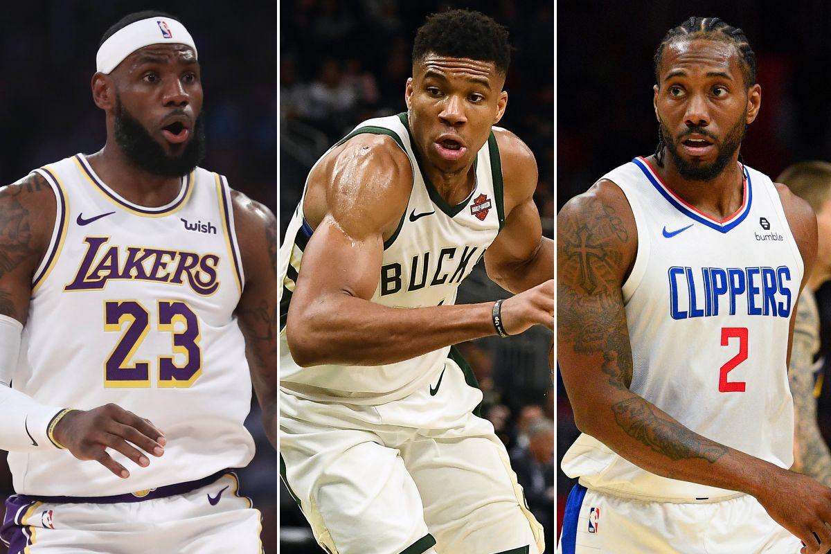 LeBron James, Giannis Antetokounmpo and Kawhi Leonard