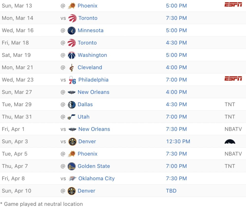 2021-22 Lakers schedule