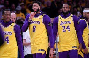 Rajon Rondo, Anthony Davis and LeBron James