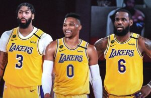 LeBron James, Russell Westbrook and Anthony Davis